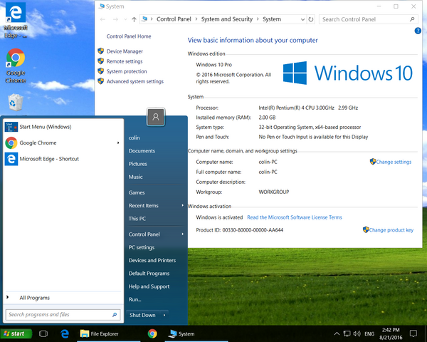 Windows 10 looking like Windows XP to avoid confusing the customer